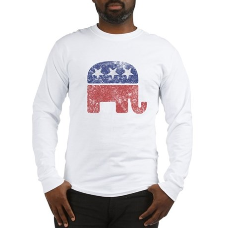 Worn Republican Elephant Long Sleeve T-Shirt