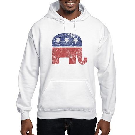 Worn Republican Elephant Hooded Sweatshirt
