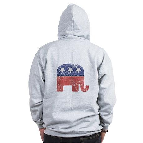 Worn Republican Elephant Zip Hoodie
