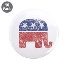 "Worn Republican Elephant 3.5"" Button (10 pack)"