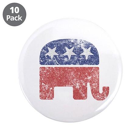 "Worn Republican Elephant 3.5"" Button (10 pack)"