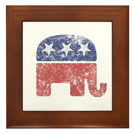 Worn Republican Elephant Framed Tile