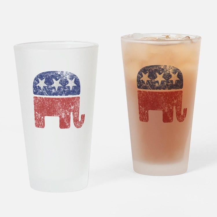 Worn Republican Elephant Drinking Glass