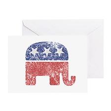 Worn Republican Elephant Greeting Card
