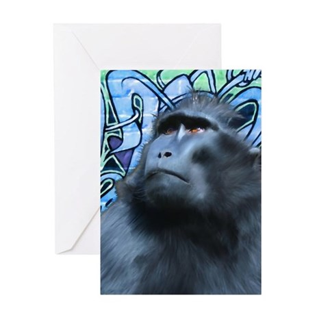 Black Macaque Greeting Card