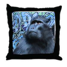 Black Macaque Throw Pillow