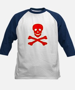 Blood Red Skull & Crossbones Kids Baseball Jersey