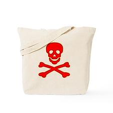 Blood Red Skull & Crossbones Tote Bag