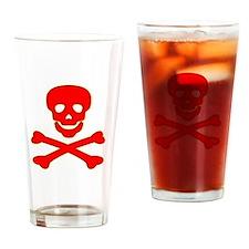 Blood Red Skull & Crossbones Drinking Glass