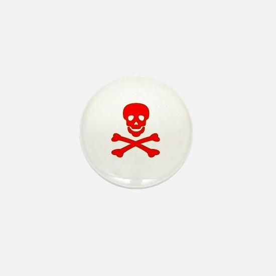 Blood Red Skull & Crossbones Mini Button