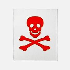 Blood Red Skull & Crossbones Throw Blanket