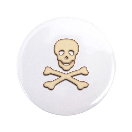 "Bone Skull & Crossbones 3.5"" Button (100 pack)"