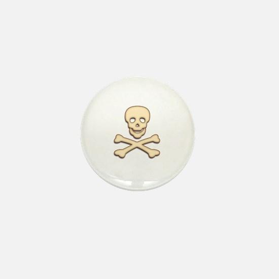 Bone Skull & Crossbones Mini Button