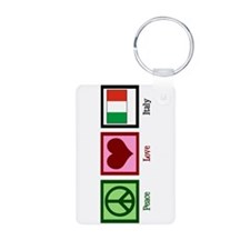 Peace Love Italy Aluminum Photo Keychain
