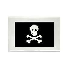 Black Pirate Flag Rectangle Magnet