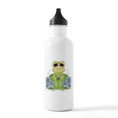 Fun Frog & Flowers Water Bottle