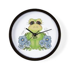 Fun Frog & Flowers Wall Clock