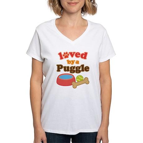 Puggle Dog Gift Women's V-Neck T-Shirt