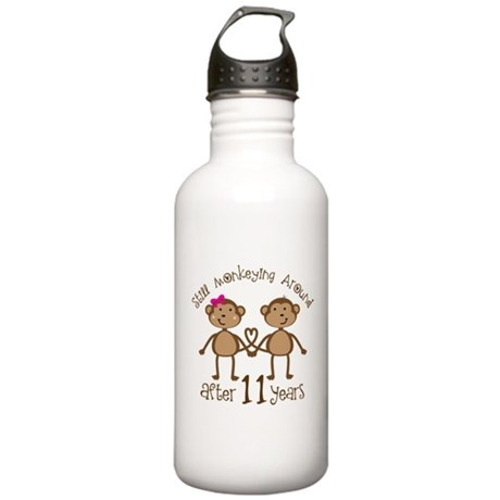 11th Anniversary Love Monkeys Gift Stainless Water