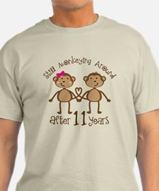 11th Anniversary Love Monkeys Gift T-Shirt