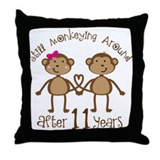 11th Anniversary Love Monkeys Gift Throw Pillow