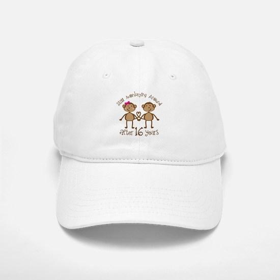 16th Anniversary Love Monkeys Gift Baseball Baseball Cap