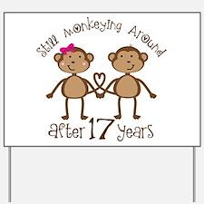 17th Anniversary Love Monkeys Yard Sign