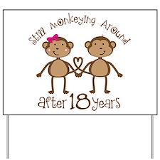 18th Anniversary Love Monkeys Yard Sign