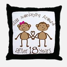 18th Anniversary Love Monkeys Throw Pillow