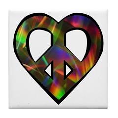 Abstract Light Peace Heart Tile Coaster