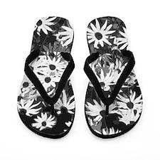 Cute Black sunflower Flip Flops