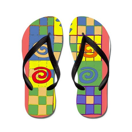Colorful One Of A Kind Flip F Flip Flops