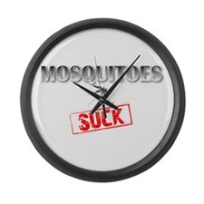 Mosquitoes SUCK funny graphic Large Wall Clock