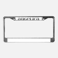 Angelica Carved Metal License Plate Frame