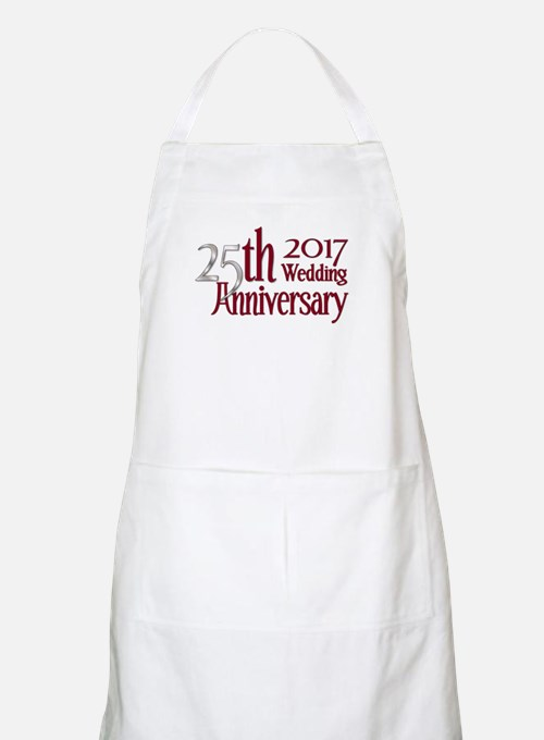25th Silver Burgundy Anniversary 2017 Light Apron