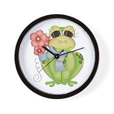 Cute Frog & Flower Wall Clock