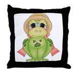 Funny Frog With Hat Throw Pillow