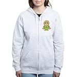 Funny Frog With Hat Women's Zip Hoodie
