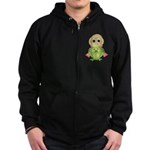 Funny Frog With Hat Zip Hoodie (dark)
