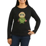 Funny Frog With Hat Women's Long Sleeve Dark T-Shi