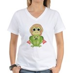 Funny Frog With Hat Women's V-Neck T-Shirt
