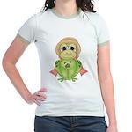 Funny Frog With Hat Jr. Ringer T-Shirt