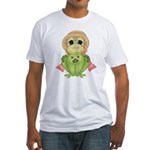 Funny Frog With Hat Fitted T-Shirt