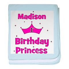 1st Birthday Princess Madison baby blanket