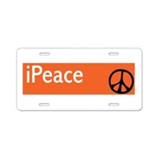 Orange iPeace Sign Aluminum License Plate