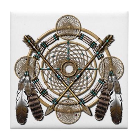 Dreamcatcher Medicine Wheel Tile Coaster
