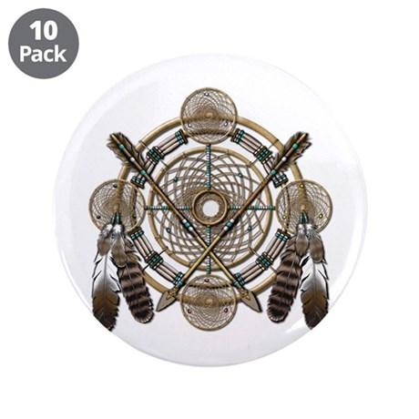 """Dreamcatcher Medicine Wheel 3.5"""" Button (10 pack)"""