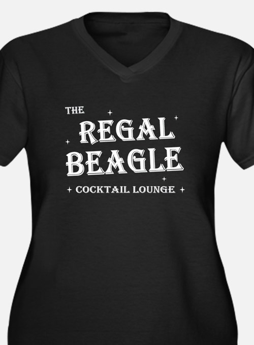 The Regal Beagle Women's Plus Size V-Neck Dark T-S