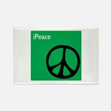 Green iPeace Sign Rectangle Magnet