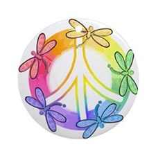 Dragonfly Peace Sign Ornament (Round)